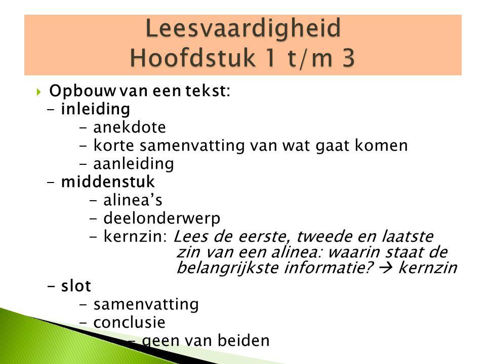 Leesvaardigheid Hoofdstuk 1 t/m 3