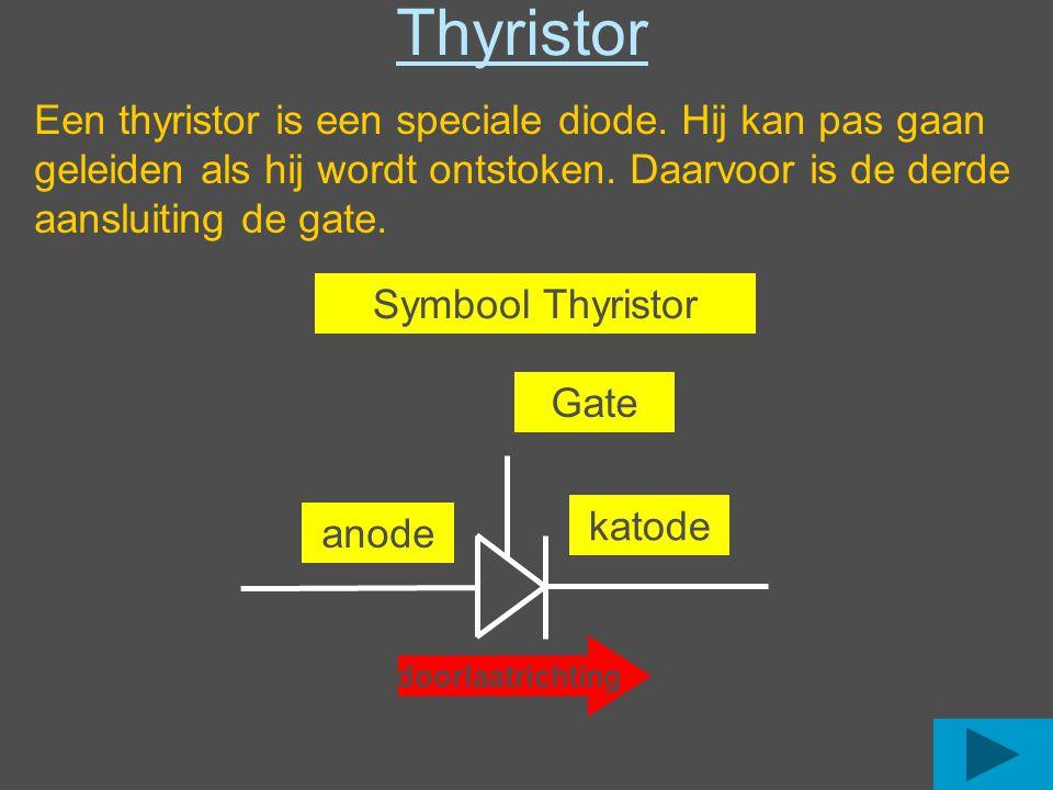 Thyristor Een thyristor is een speciale diode. Hij kan pas gaan geleiden als hij wordt ontstoken. Daarvoor is de derde aansluiting de gate.