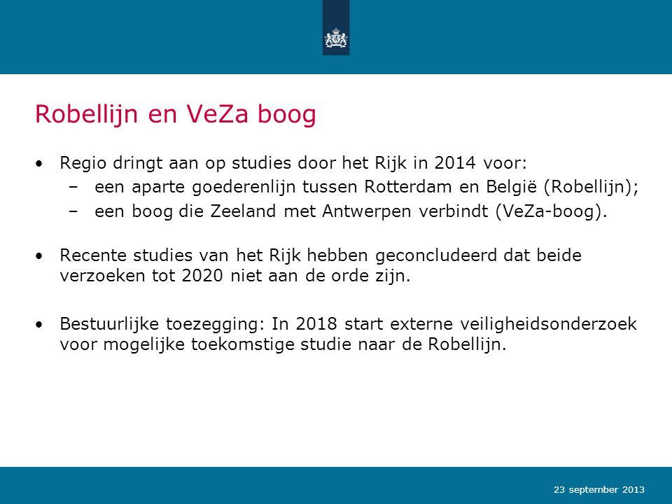 Robellijn en VeZa boog Regio dringt aan op studies door het Rijk in 2014 voor: een aparte goederenlijn tussen Rotterdam en België (Robellijn);
