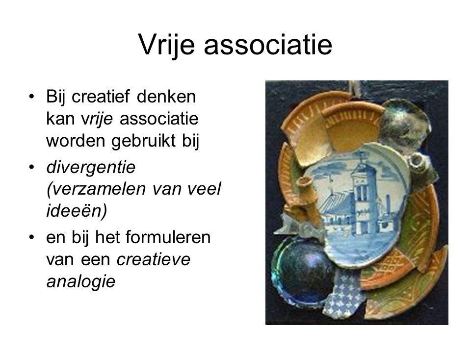 Vrije associatie Bij creatief denken kan vrije associatie worden gebruikt bij. divergentie (verzamelen van veel ideeën)