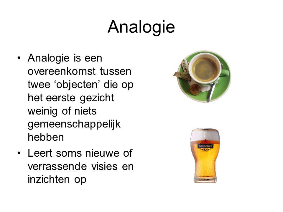 Analogie Analogie is een overeenkomst tussen twee 'objecten' die op het eerste gezicht weinig of niets gemeenschappelijk hebben.