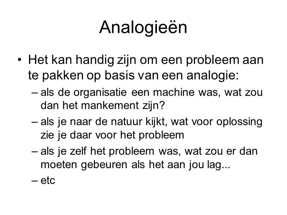 Analogieën Het kan handig zijn om een probleem aan te pakken op basis van een analogie: