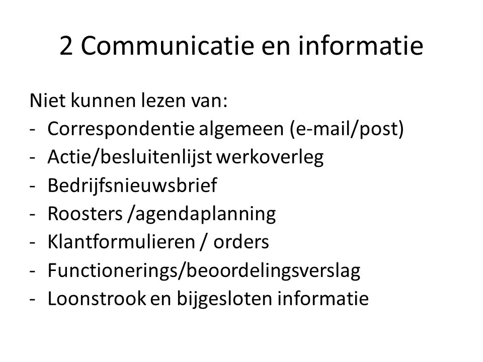 2 Communicatie en informatie
