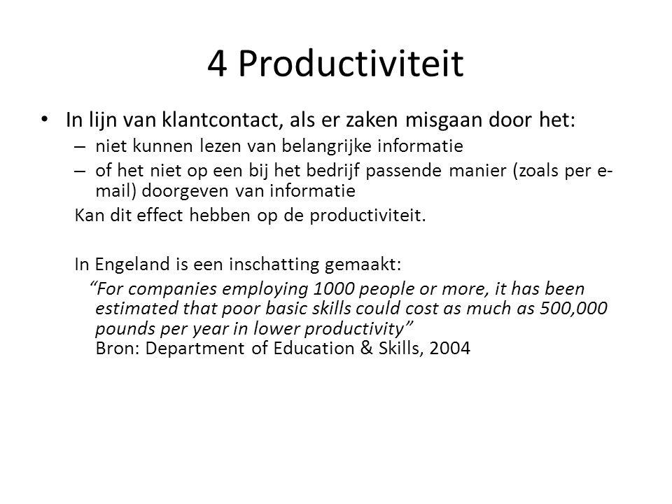 4 Productiviteit In lijn van klantcontact, als er zaken misgaan door het: niet kunnen lezen van belangrijke informatie.