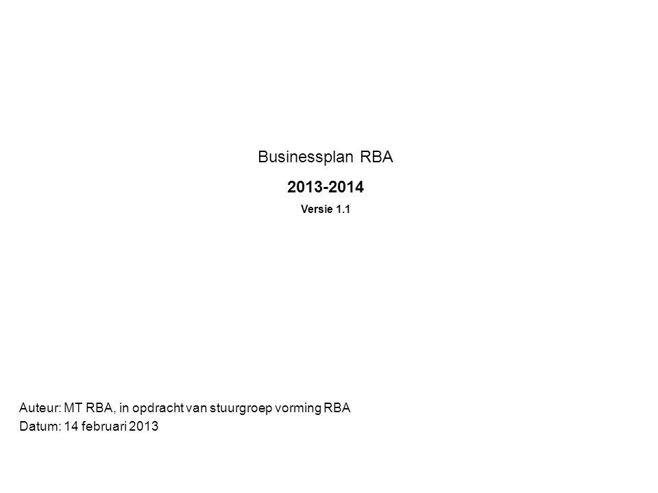 Businessplan RBA 2013-2014. Versie 1.1. Auteur: MT RBA, in opdracht van stuurgroep vorming RBA.