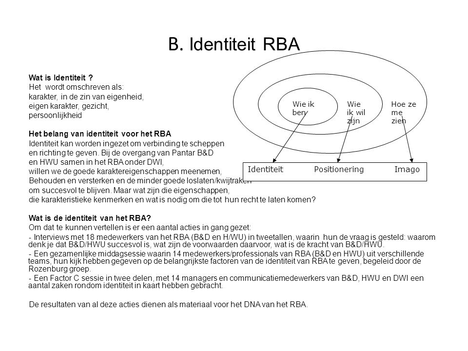 B. Identiteit RBA Wat is Identiteit Het wordt omschreven als: