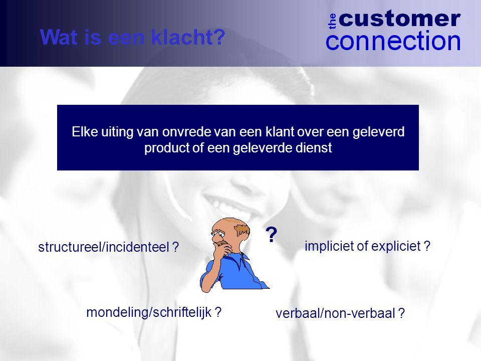 Wat is een klacht Elke uiting van onvrede van een klant over een geleverd product of een geleverde dienst.