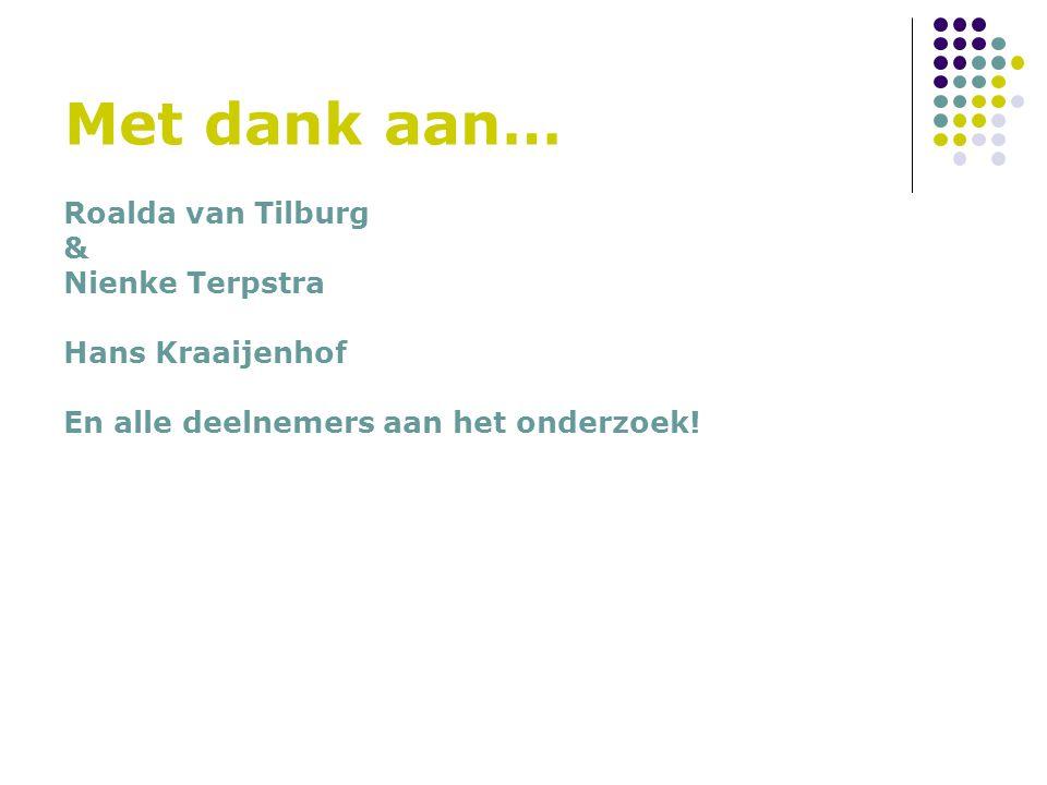 Met dank aan… Roalda van Tilburg & Nienke Terpstra Hans Kraaijenhof