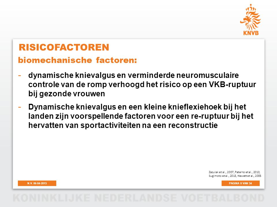 Risicofactoren biomechanische factoren:
