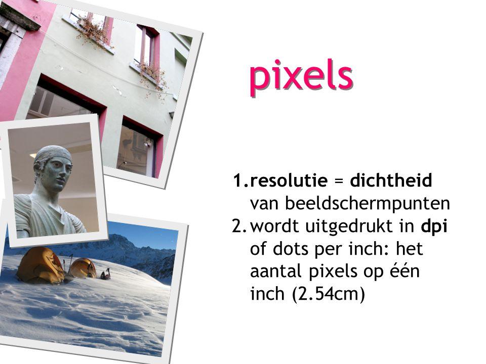 pixels resolutie = dichtheid van beeldschermpunten