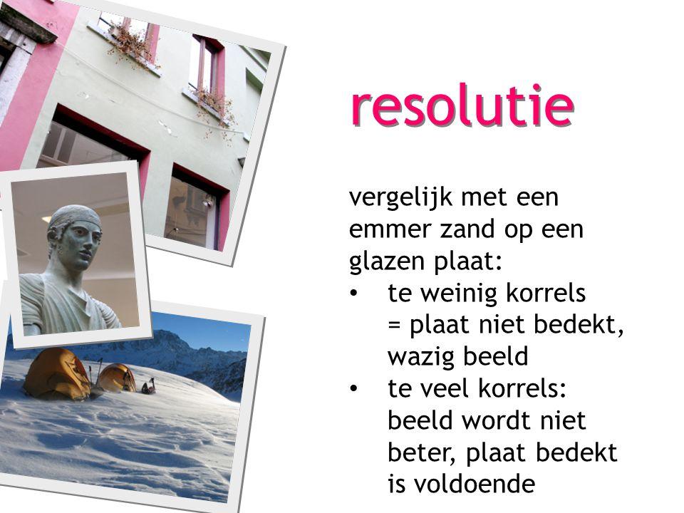 resolutie vergelijk met een emmer zand op een glazen plaat: