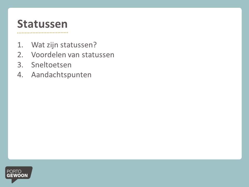 Statussen Wat zijn statussen Voordelen van statussen Sneltoetsen