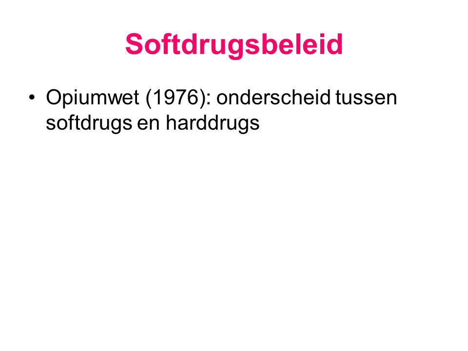 Softdrugsbeleid Opiumwet (1976): onderscheid tussen softdrugs en harddrugs