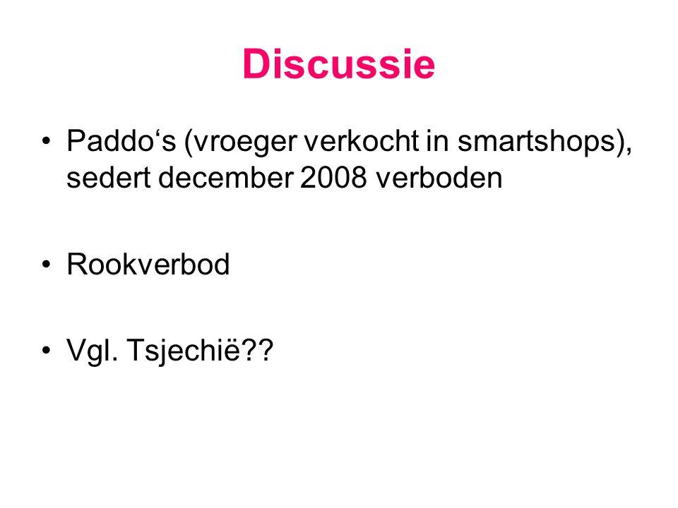 Discussie Paddo's (vroeger verkocht in smartshops), sedert december 2008 verboden.