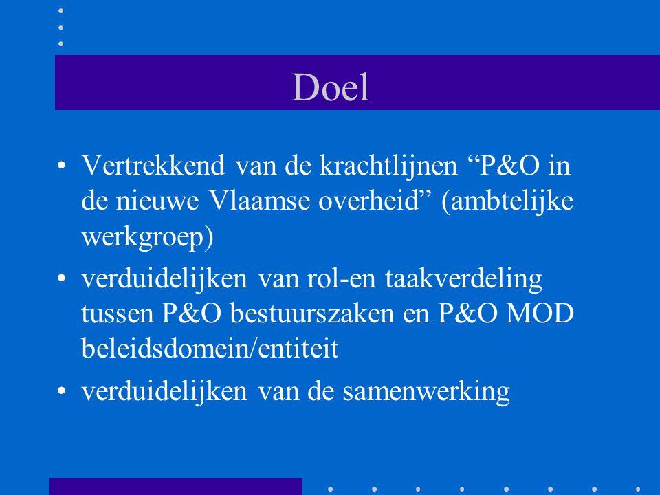 Doel Vertrekkend van de krachtlijnen P&O in de nieuwe Vlaamse overheid (ambtelijke werkgroep)