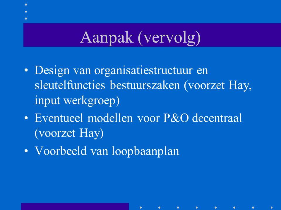 Aanpak (vervolg) Design van organisatiestructuur en sleutelfuncties bestuurszaken (voorzet Hay, input werkgroep)