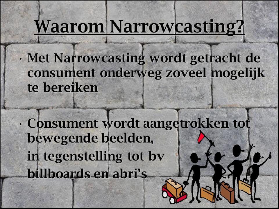 Waarom Narrowcasting Met Narrowcasting wordt getracht de consument onderweg zoveel mogelijk te bereiken.