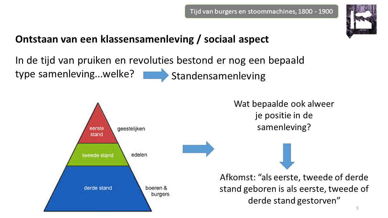 Ontstaan van een klassensamenleving / sociaal aspect