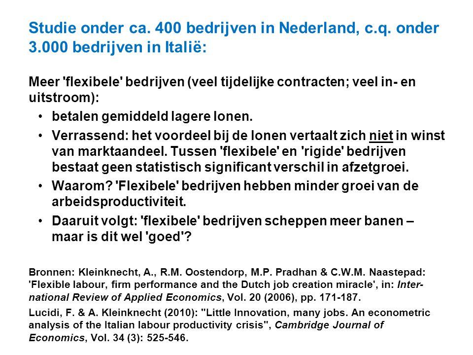 Studie onder ca. 400 bedrijven in Nederland, c. q. onder 3
