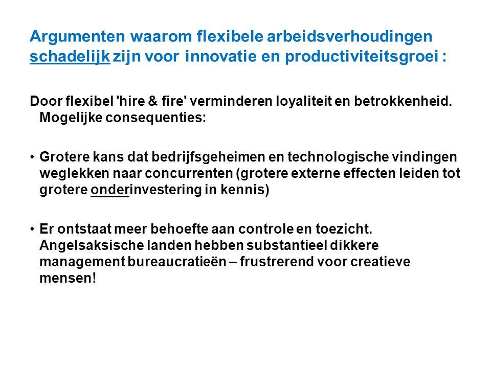 Argumenten waarom flexibele arbeidsverhoudingen schadelijk zijn voor innovatie en productiviteitsgroei :