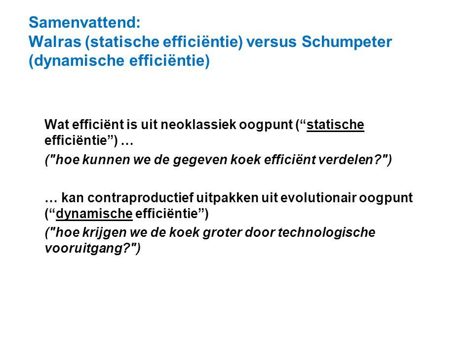 Samenvattend: Walras (statische efficiëntie) versus Schumpeter (dynamische efficiëntie)