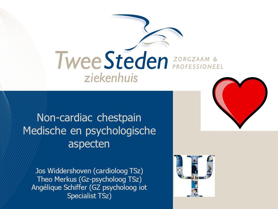 Non-cardiac chestpain Medische en psychologische aspecten Jos Widdershoven (cardioloog TSz) Theo Merkus (Gz-psycholoog TSz) Angélique Schiffer (GZ psycholoog iot Specialist TSz)