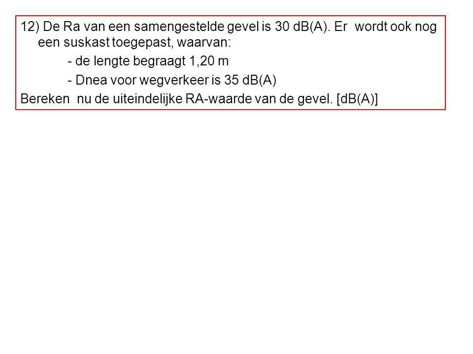 12) De Ra van een samengestelde gevel is 30 dB(A)