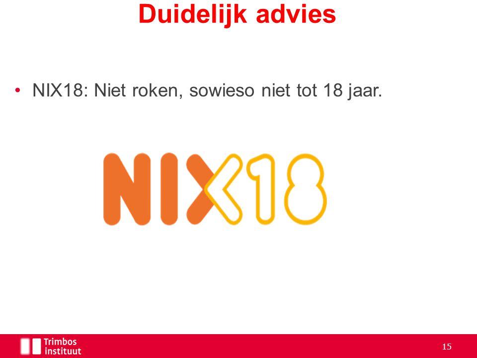 Duidelijk advies NIX18: Niet roken, sowieso niet tot 18 jaar.