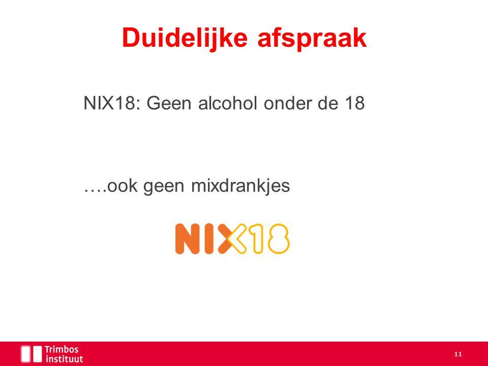 Duidelijke afspraak NIX18: Geen alcohol onder de 18