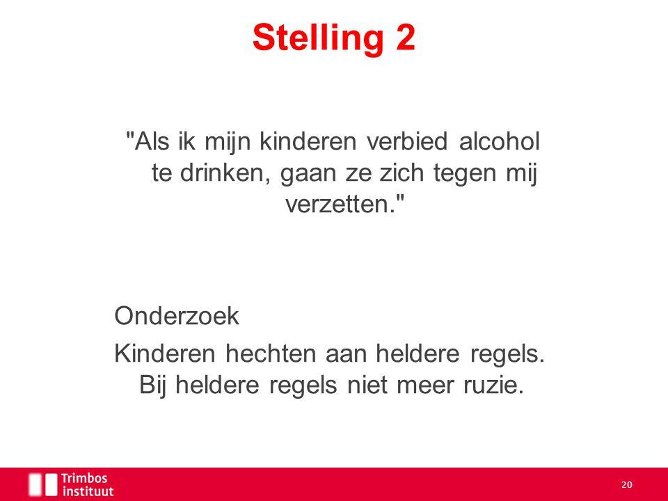 Stelling 2 Als ik mijn kinderen verbied alcohol te drinken, gaan ze zich tegen mij verzetten. Onderzoek.