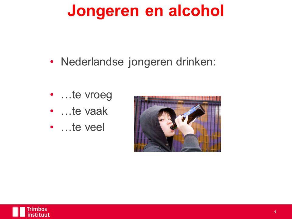 Jongeren en alcohol Nederlandse jongeren drinken: …te vroeg …te vaak