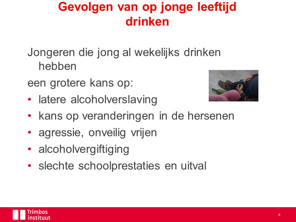 Gevolgen van op jonge leeftijd drinken