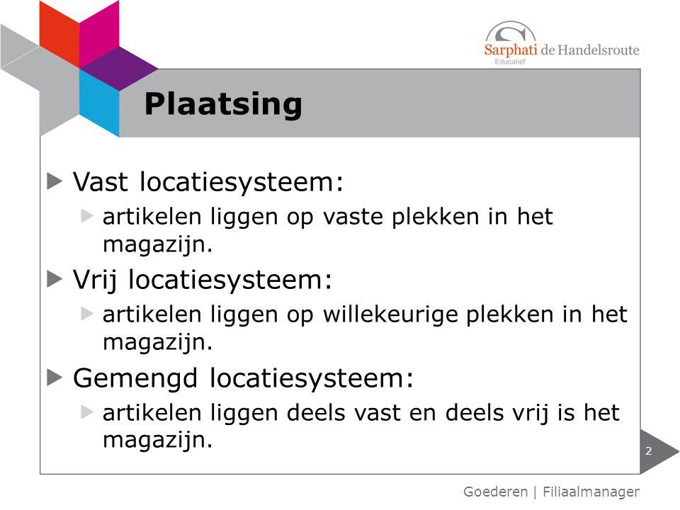 Plaatsing Vast locatiesysteem: Vrij locatiesysteem:
