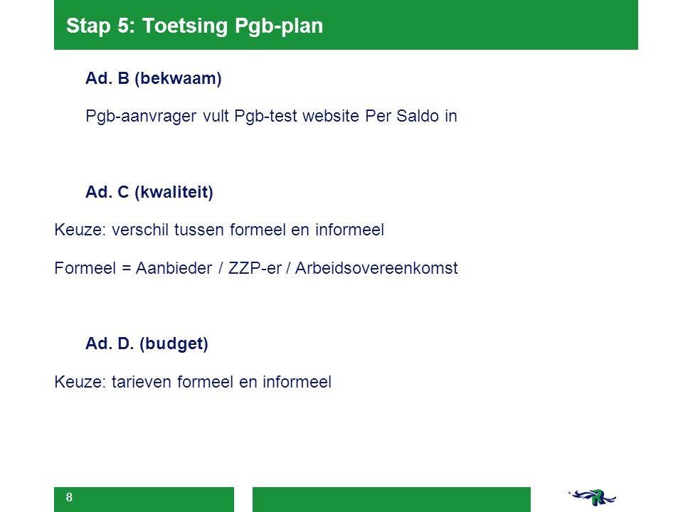 Stap 5: Toetsing Pgb-plan