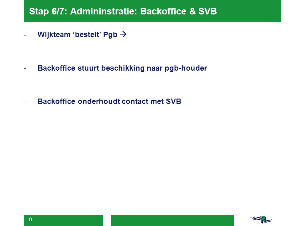 Stap 6/7: Admininstratie: Backoffice & SVB