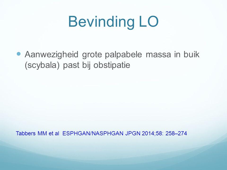 Bevinding LO Aanwezigheid grote palpabele massa in buik (scybala) past bij obstipatie.