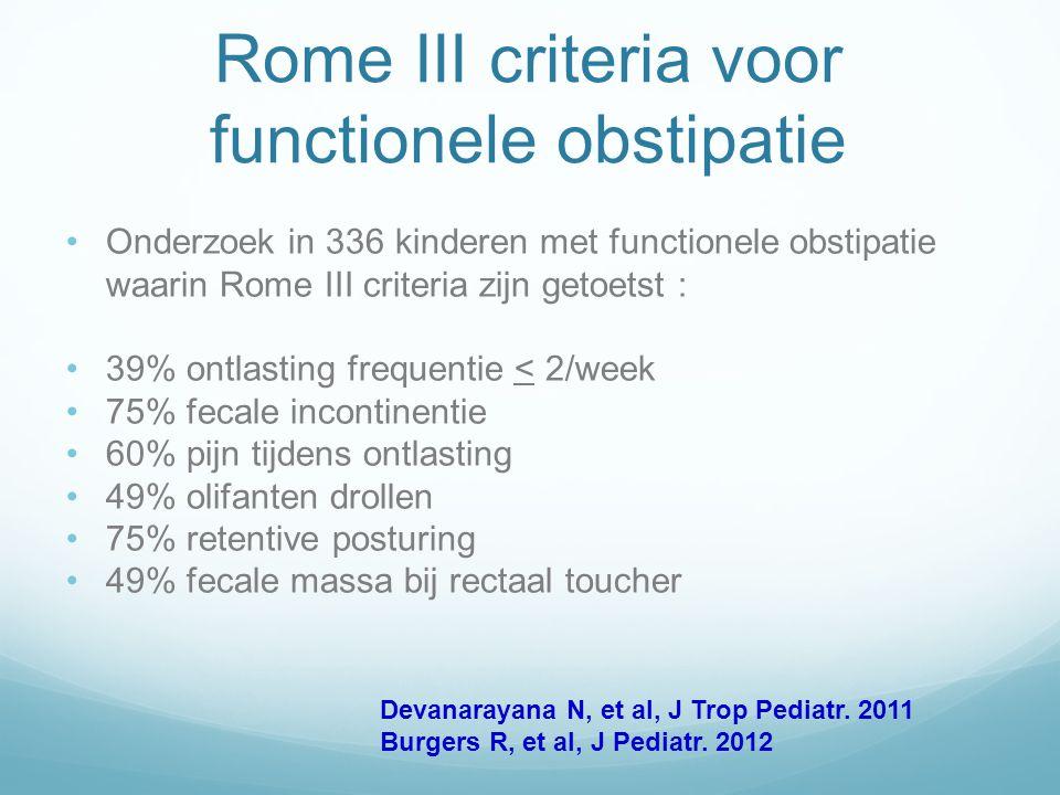 Rome III criteria voor functionele obstipatie