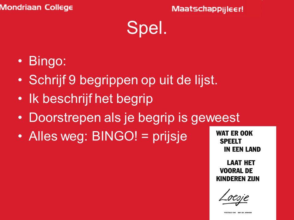 Spel. Bingo: Schrijf 9 begrippen op uit de lijst.