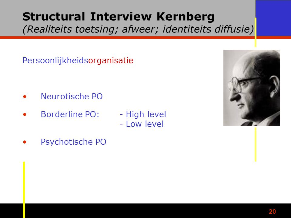 Structural Interview Kernberg (Realiteits toetsing; afweer; identiteits diffusie)