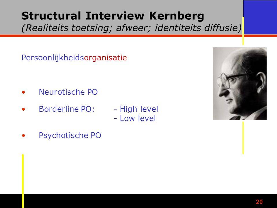 Structural Interview Kernberg (Realiteits toetsing; afweer; identiteits diffusie)