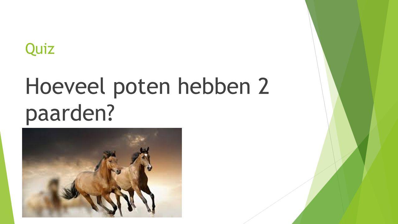 Hoeveel poten hebben 2 paarden