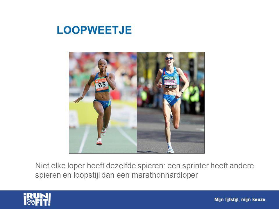 LOOPWEETJE Niet elke loper heeft dezelfde spieren: een sprinter heeft andere spieren en loopstijl dan een marathonhardloper.