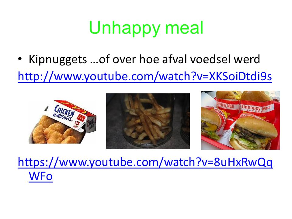 Unhappy meal Kipnuggets …of over hoe afval voedsel werd