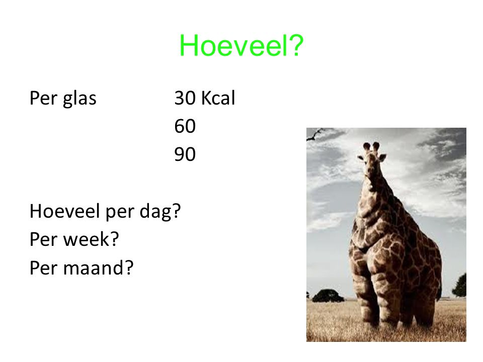Hoeveel Per glas 30 Kcal 60 90 Hoeveel per dag Per week Per maand