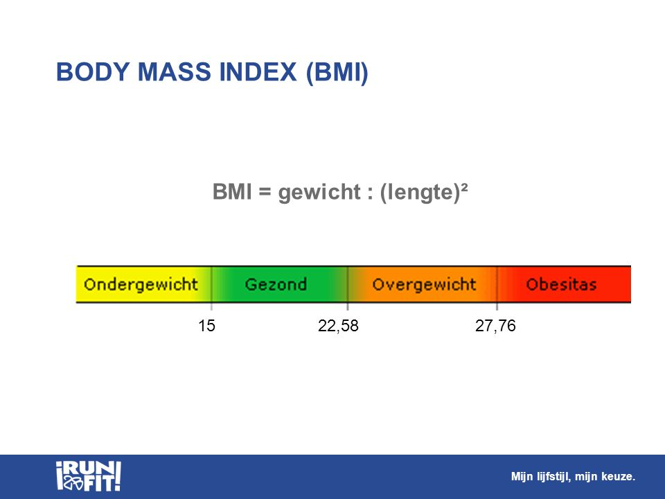 BODY MASS INDEX (BMI) BMI = gewicht : (lengte)² 15 22,58 27,76