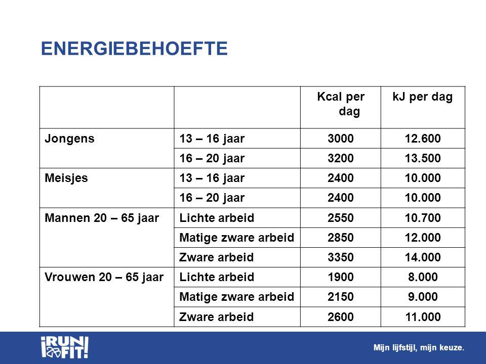 ENERGIEBEHOEFTE Kcal per dag kJ per dag Jongens 13 – 16 jaar 3000