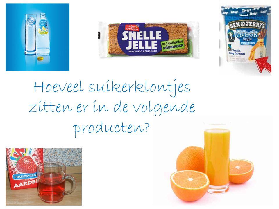 Hoeveel suikerklontjes zitten er in de volgende producten