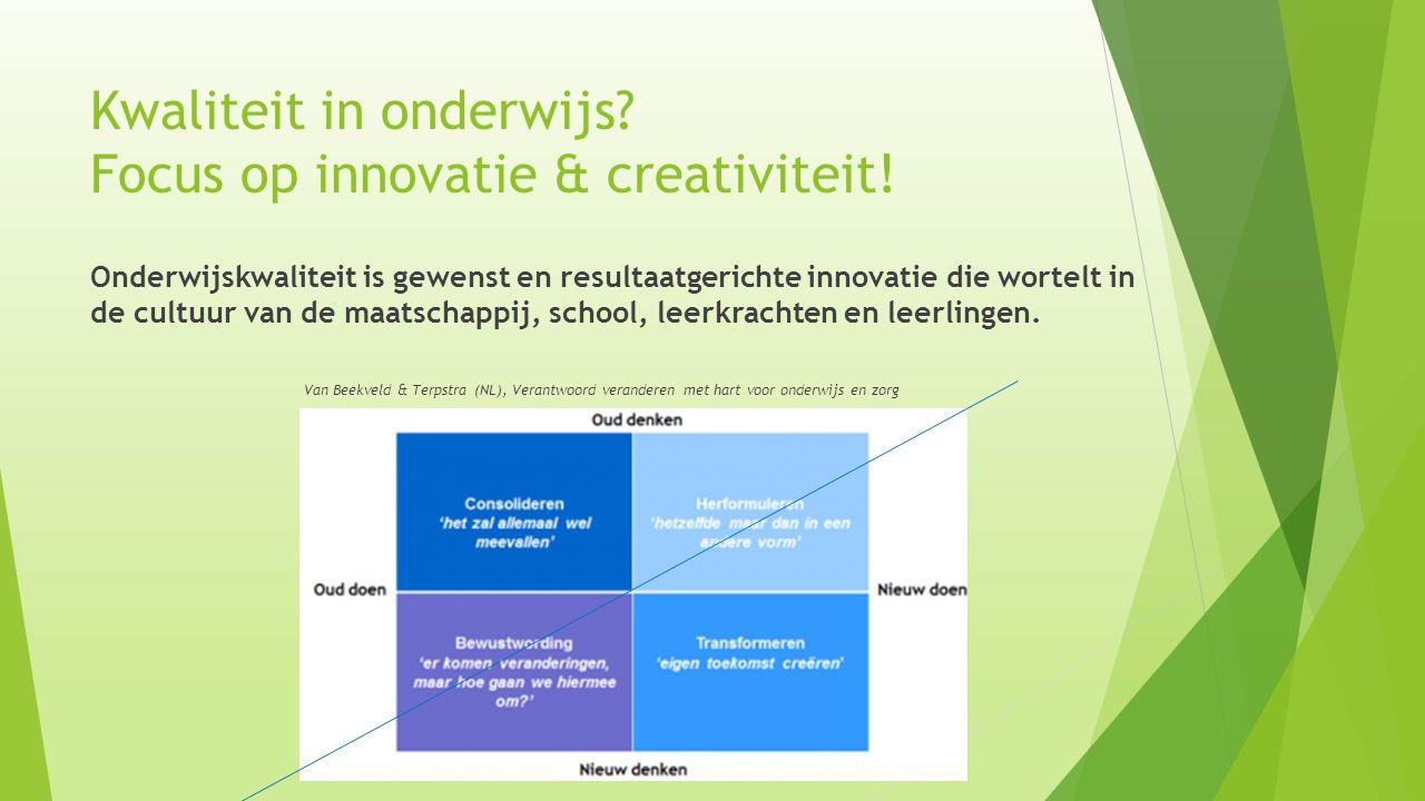 Kwaliteit in onderwijs Focus op innovatie & creativiteit!