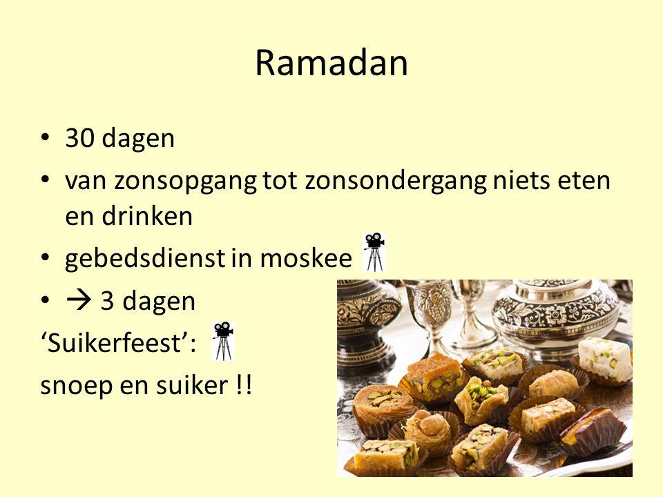 Ramadan 30 dagen. van zonsopgang tot zonsondergang niets eten en drinken. gebedsdienst in moskee.