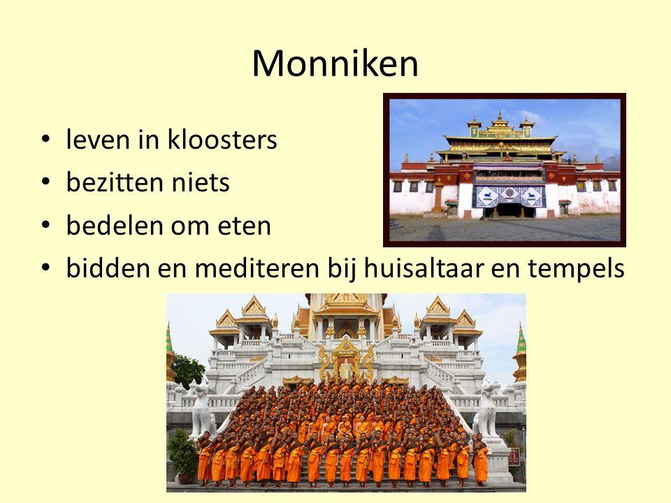 Monniken leven in kloosters bezitten niets bedelen om eten